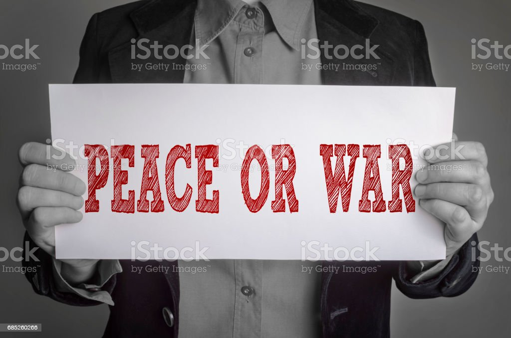 Peace or War message on white card stock photo