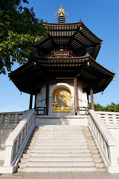 Peace Pagoda in Battersea Park (London) stock photo
