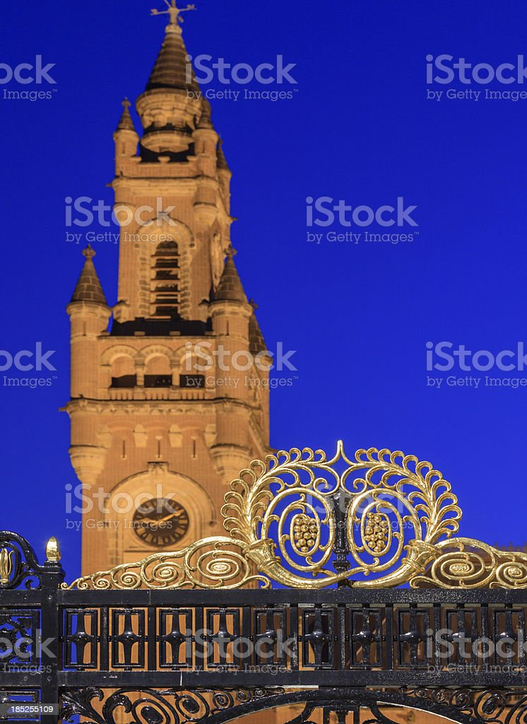 Peace Palace in The Hague at dusk stock photo