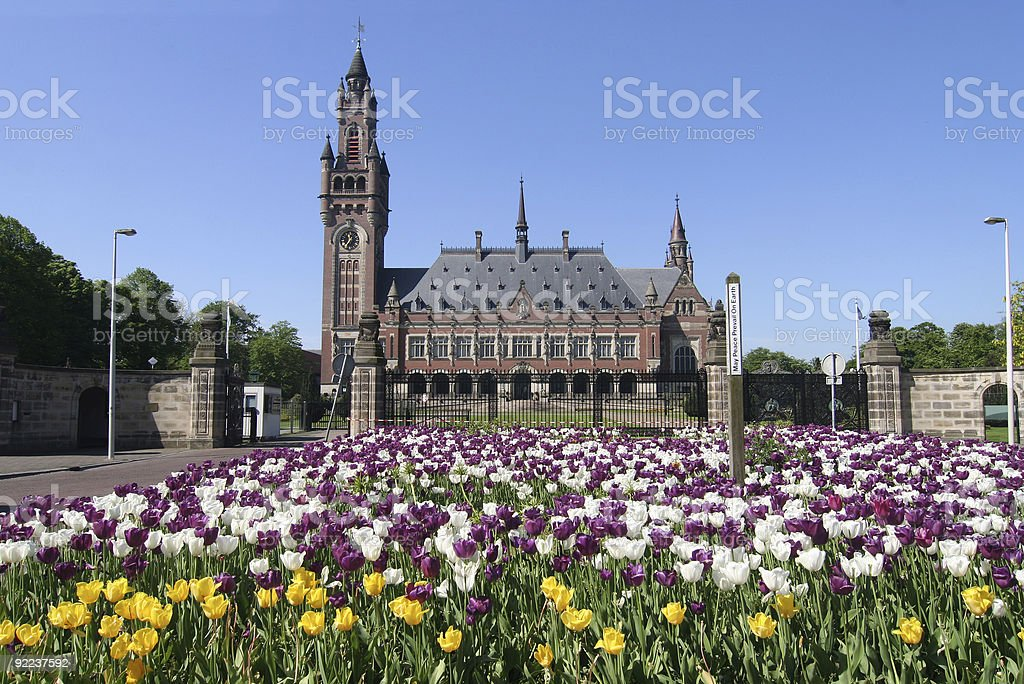 Peace Palace with a beautiful garden in front of it  stock photo