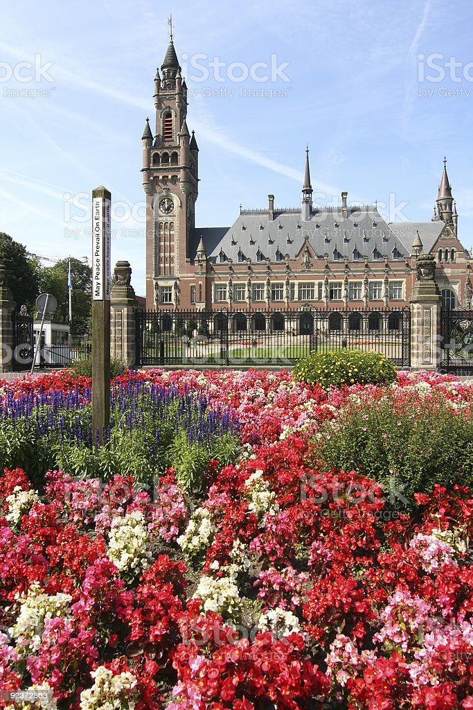 Peace Palace with Flowers royalty-free stock photo