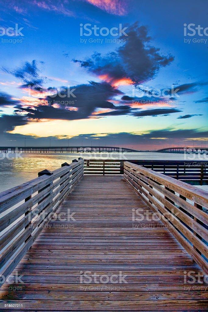 Peace River Wood Dock stock photo