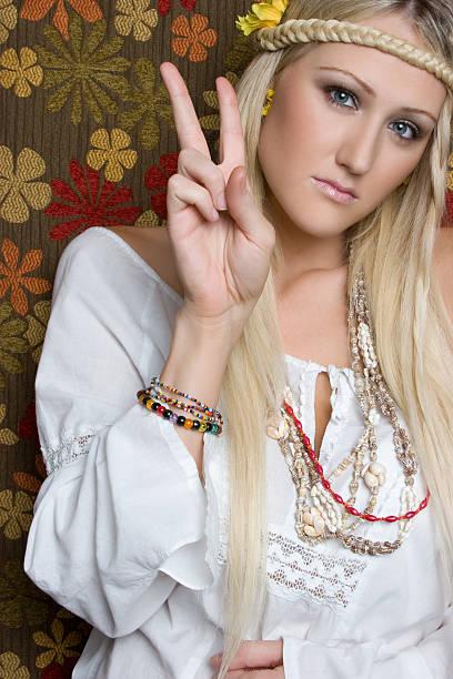 peace-hippie - hippie kostüm damen stock-fotos und bilder