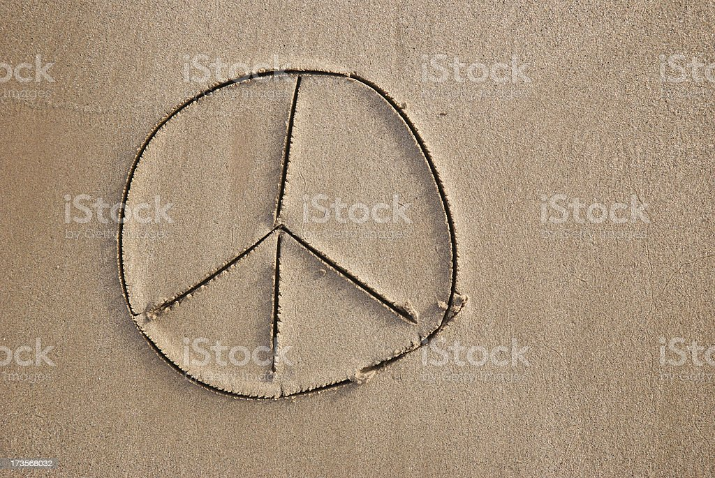 Peace Sign in the Sand royalty-free stock photo