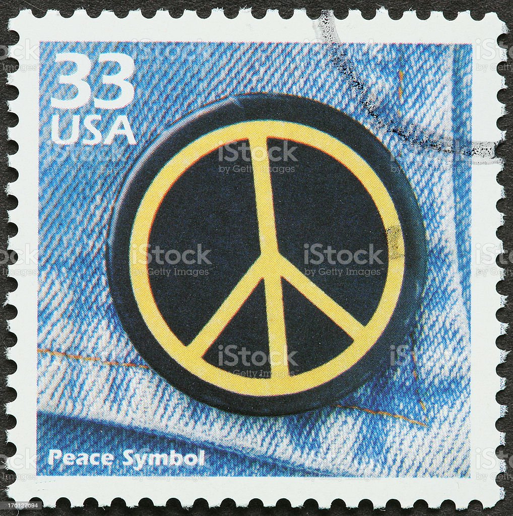 peace sign patch on jeans pocket royalty-free stock photo
