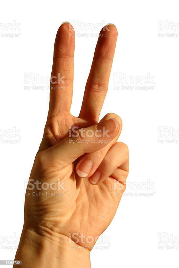Peace sign, two fingers isolated royalty-free stock photo