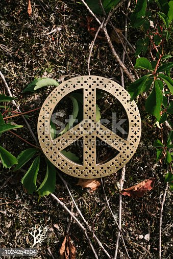 Peace symbol in nature enviroment concept Photo taken overhead above og green plants and golden peace sign