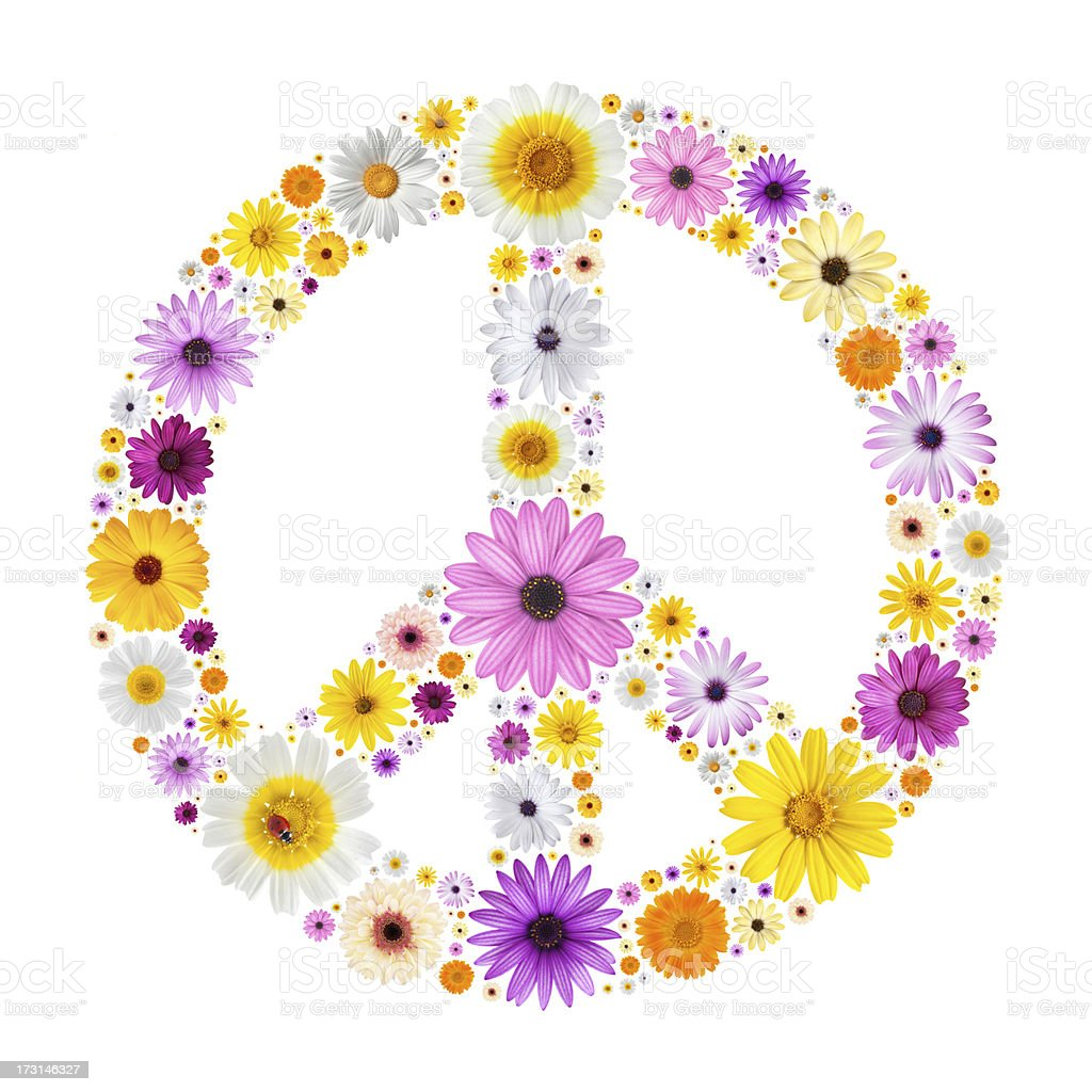 Peace symbol made from flowers stock photo