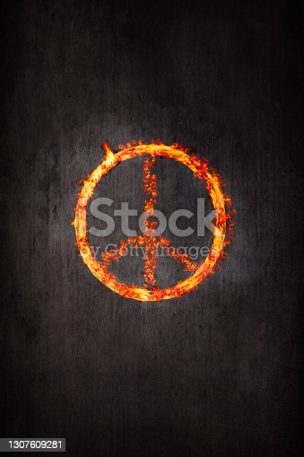 Flames in the shape of a peace symbol