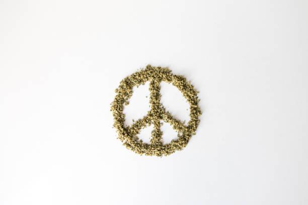 Peace Symbol of Marijuana Cannabis stock photo