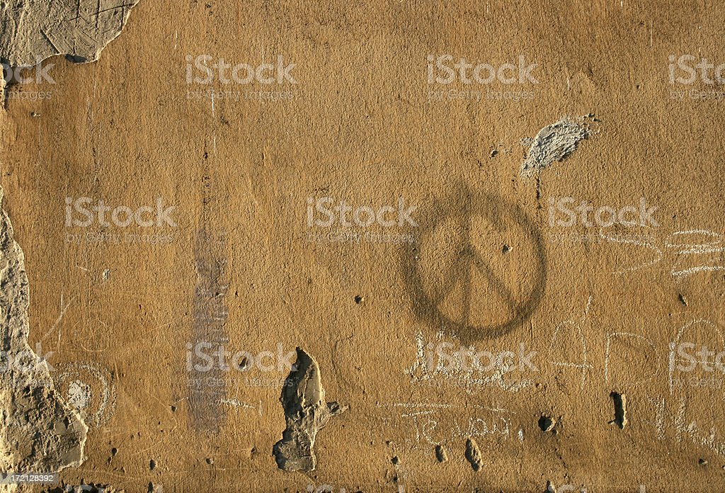Peace Symbol on an Old Wall stock photo
