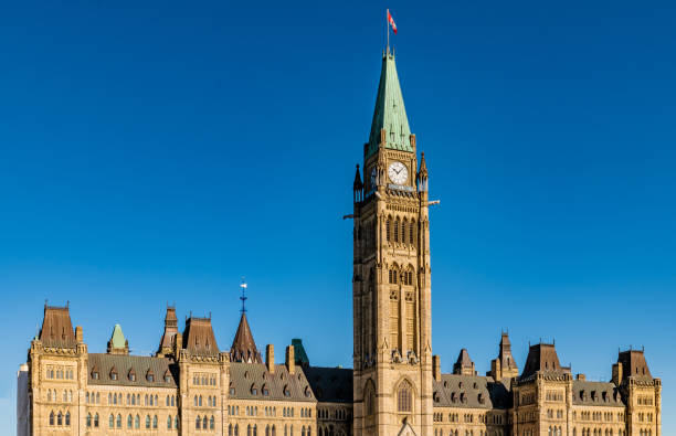 Peace Tower and Canadian parliament buildings in Ottawa, Ontario stock photo