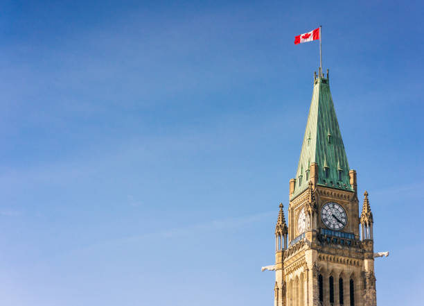 Peace Tower of Ottawa's Parliament Building stock photo