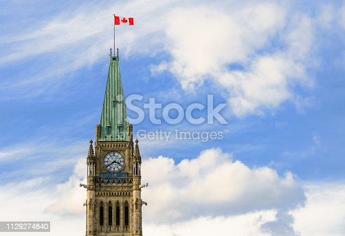 Tower of Victory and Peace in Ottawa, Canada. Bell and Clock Tower of Canadian Parliament.