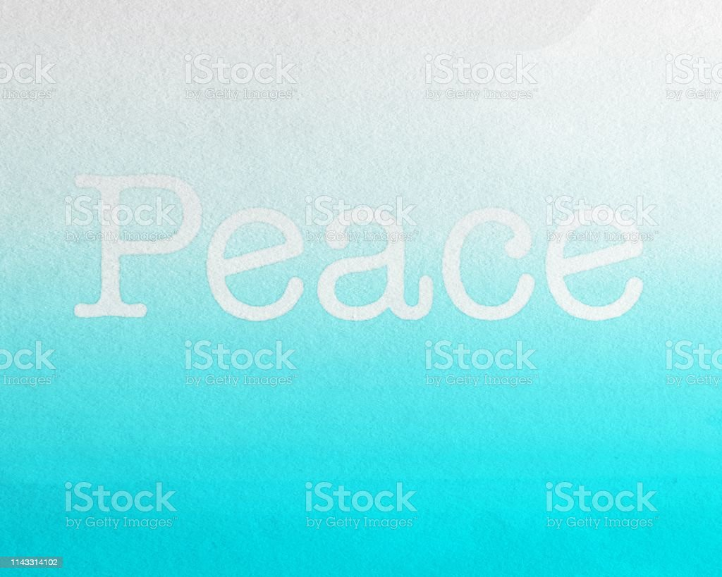 Peace with Blue Background, watercolor painted Fruit of the Spirit stock photo