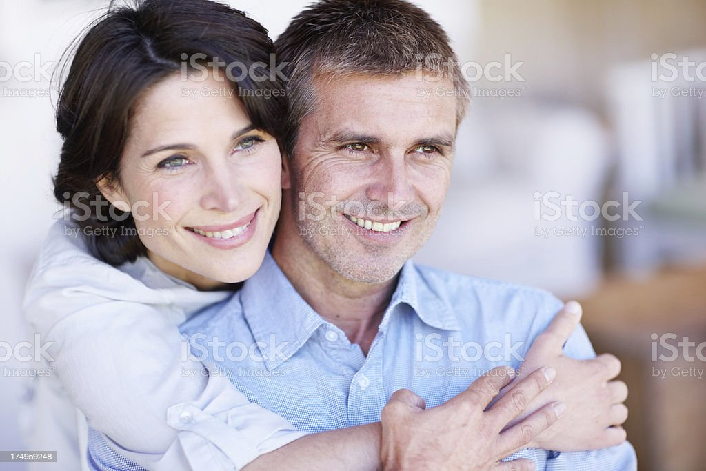 Peaceful and pondering pair royalty-free stock photo