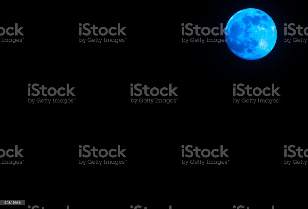 Peaceful background, night sky with full moon blue stock photo