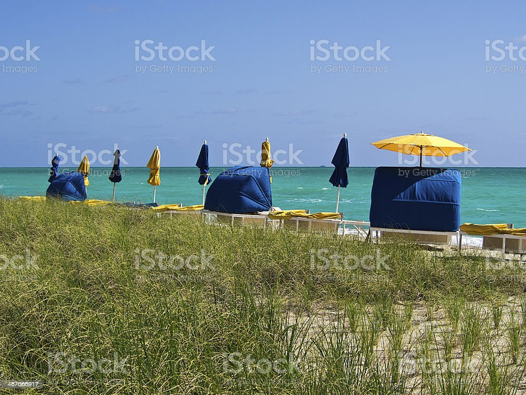 Peaceful Beach Cabanas stock photo