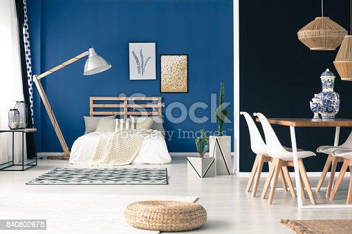 istock Peaceful blue studio apartment 840802678