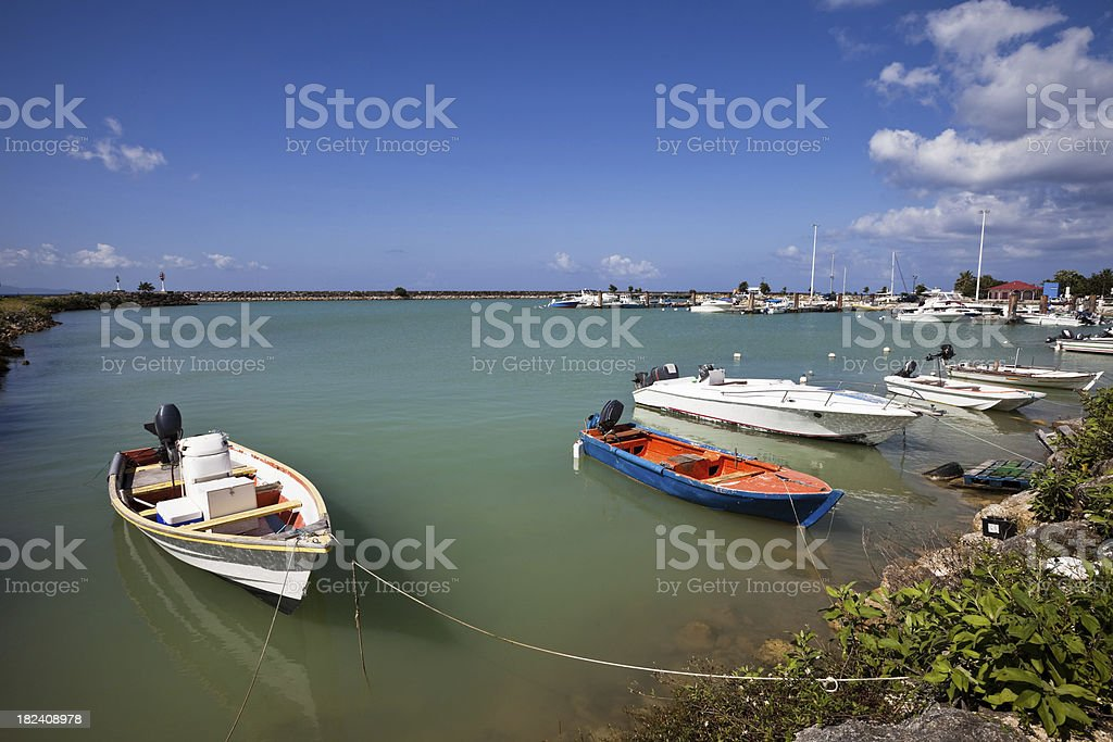 Peaceful Caribbean Fishing Harbor in Guadeloupe royalty-free stock photo
