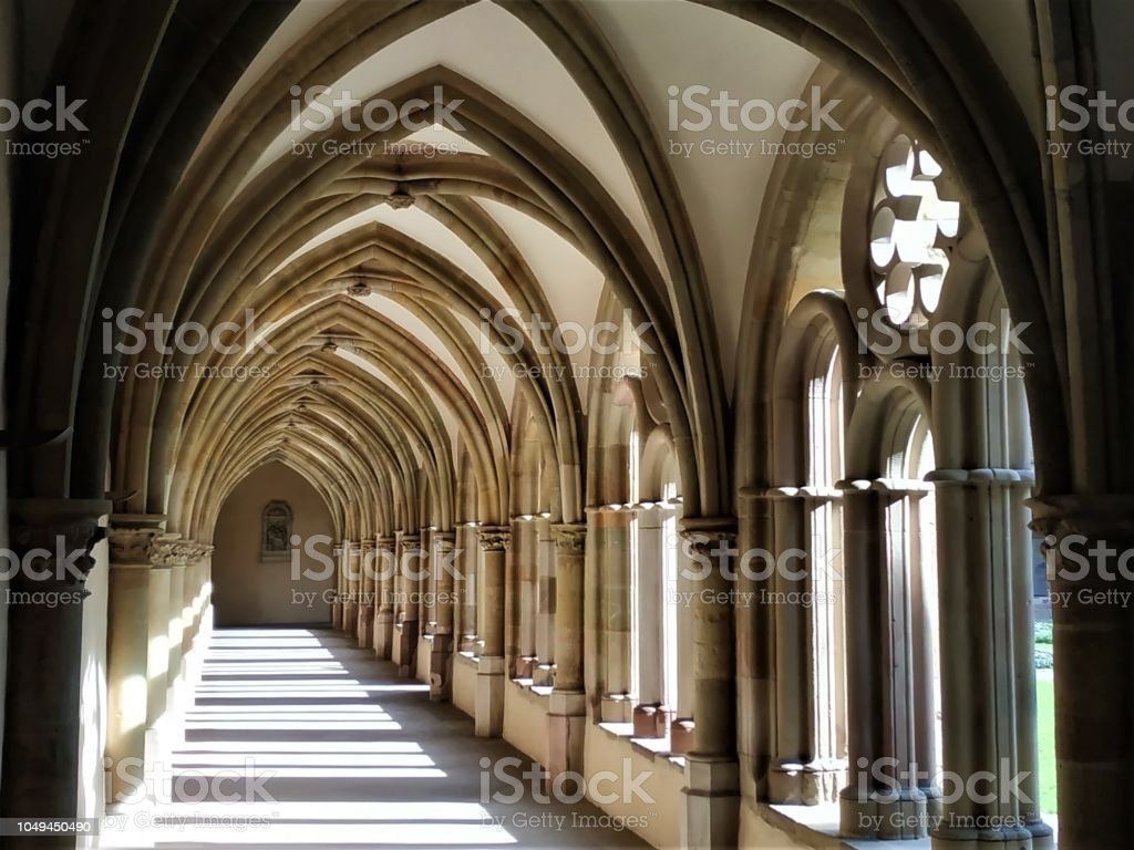 Peaceful cloister of the cathedral of Trier stock photo