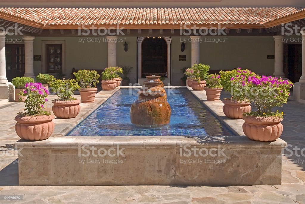 Peaceful Courtyard & Urn Fountains royalty-free stock photo