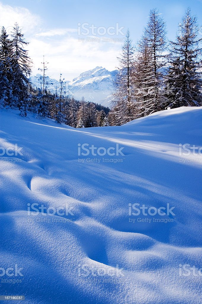 Peaceful Dolomite winter scene stock photo