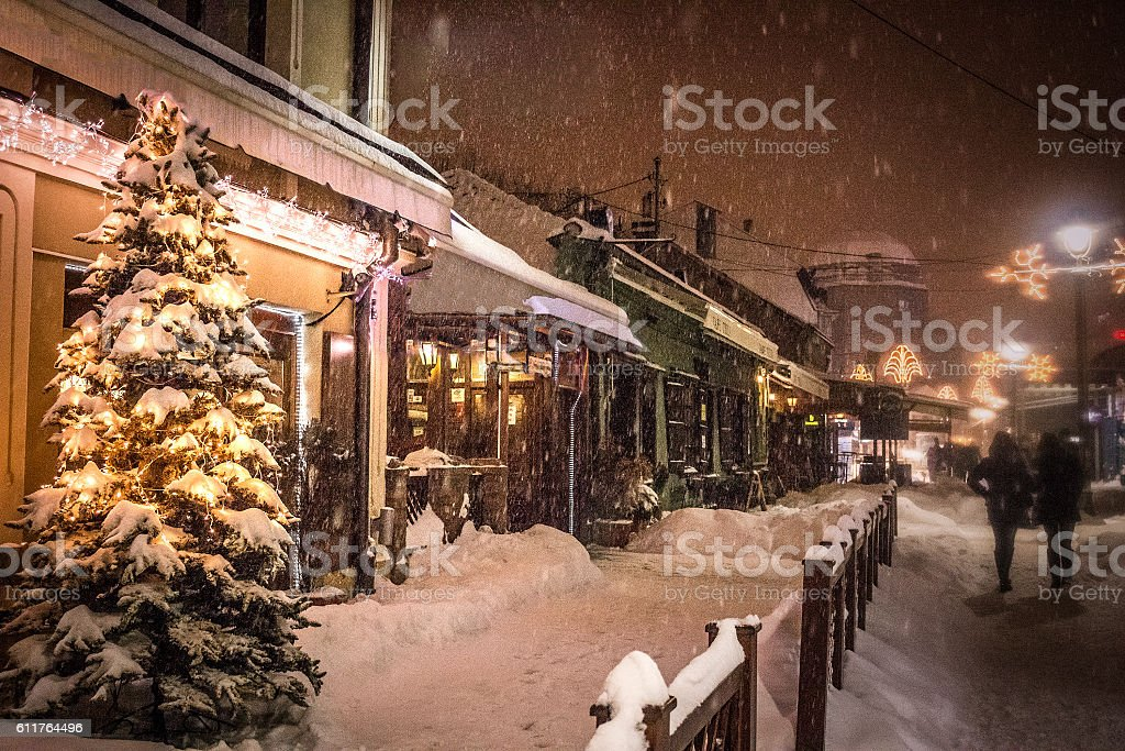 Peaceful European street on the Christmass eve stock photo