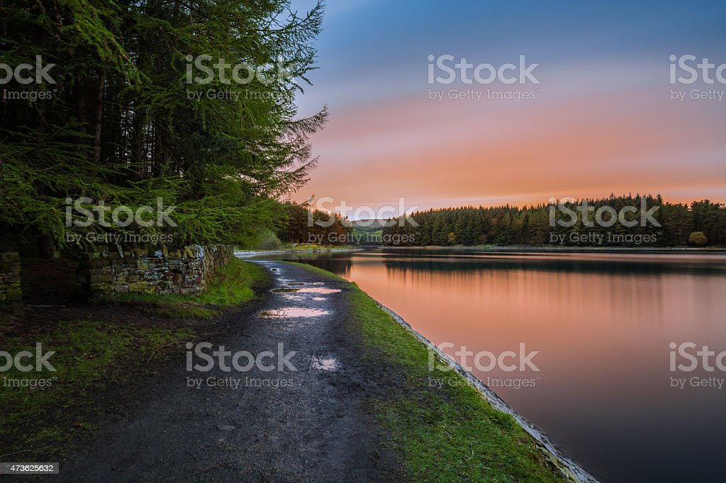 Peaceful Evening At Entwistle Lake In Bolton UK. stock photo