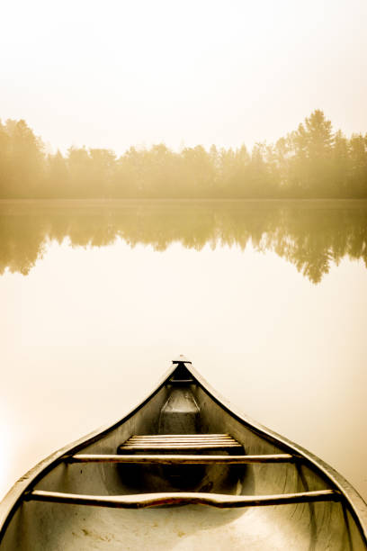 Peaceful fishing lake and canoe at sunrise. Peaceful fishing lake of Quebec in foggy morning with a canoe on the shore and the forest in background. reflection lake stock pictures, royalty-free photos & images