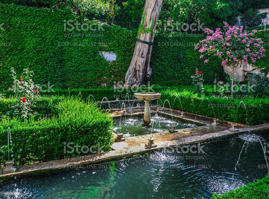 Peaceful garden in Alhambra stock photo