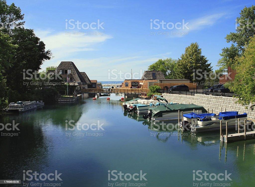 Peaceful harbor Popular vacation spot on Lake Michigan- Leland Awe Stock Photo