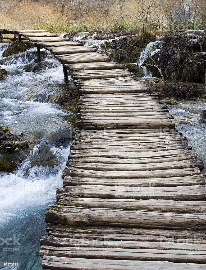 Peaceful image of this wooden bridge  royalty-free stock photo