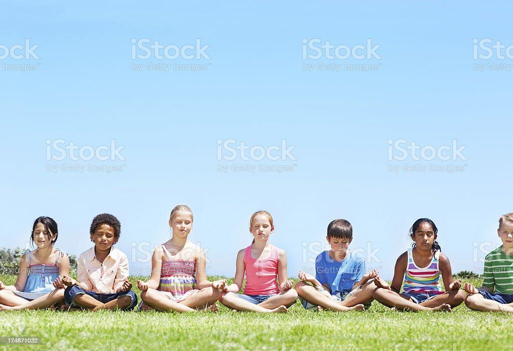 Peaceful kids stock photo