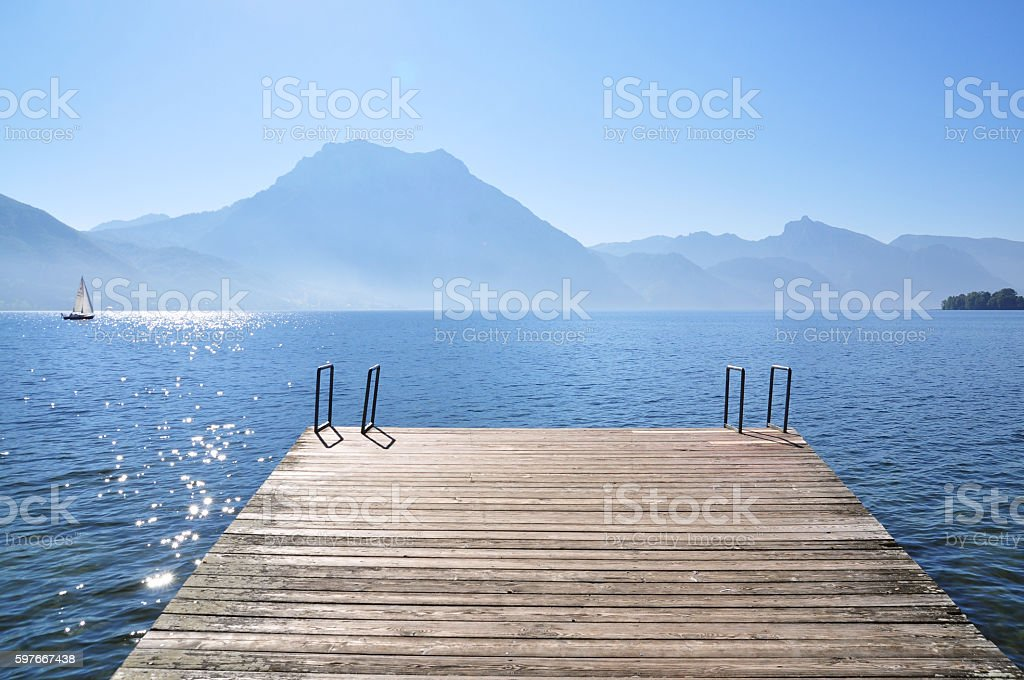 Peaceful lake landscape stock photo