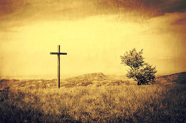 Friedliche Landschaft Hintergrund mit Kreuz – Foto