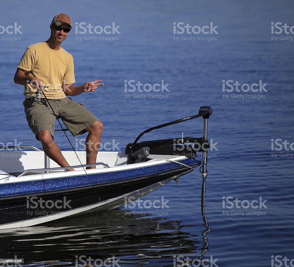 Peaceful man fishing royalty-free stock photo