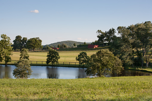 Peaceful meadows with pond and red barns