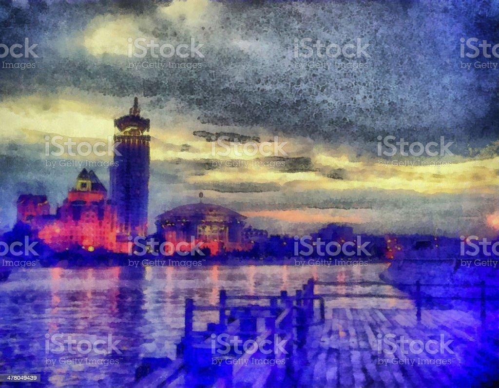 Peaceful midnight cityscape on embankment royalty-free stock photo