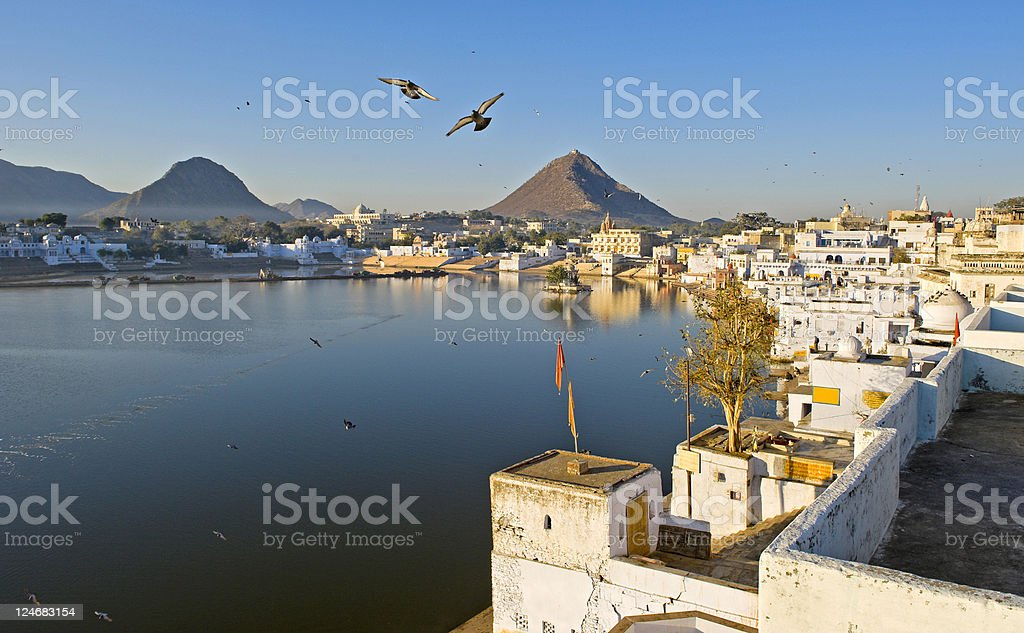Peaceful morning at Lake Pushkar, India stock photo