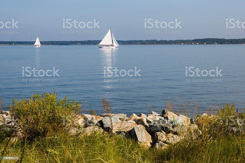 Peaceful Morning, Two Skipjack Sailing Ships stock photo