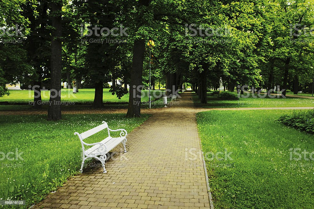 Peaceful park panorama stock photo