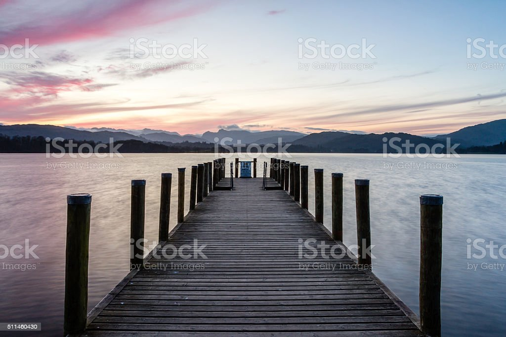 Peaceful pier on Lake Windermere, UK Lake District stock photo