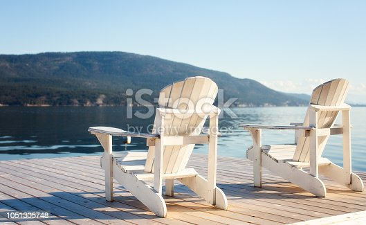 Two white adirondack chairs sitting on dock to view the lake