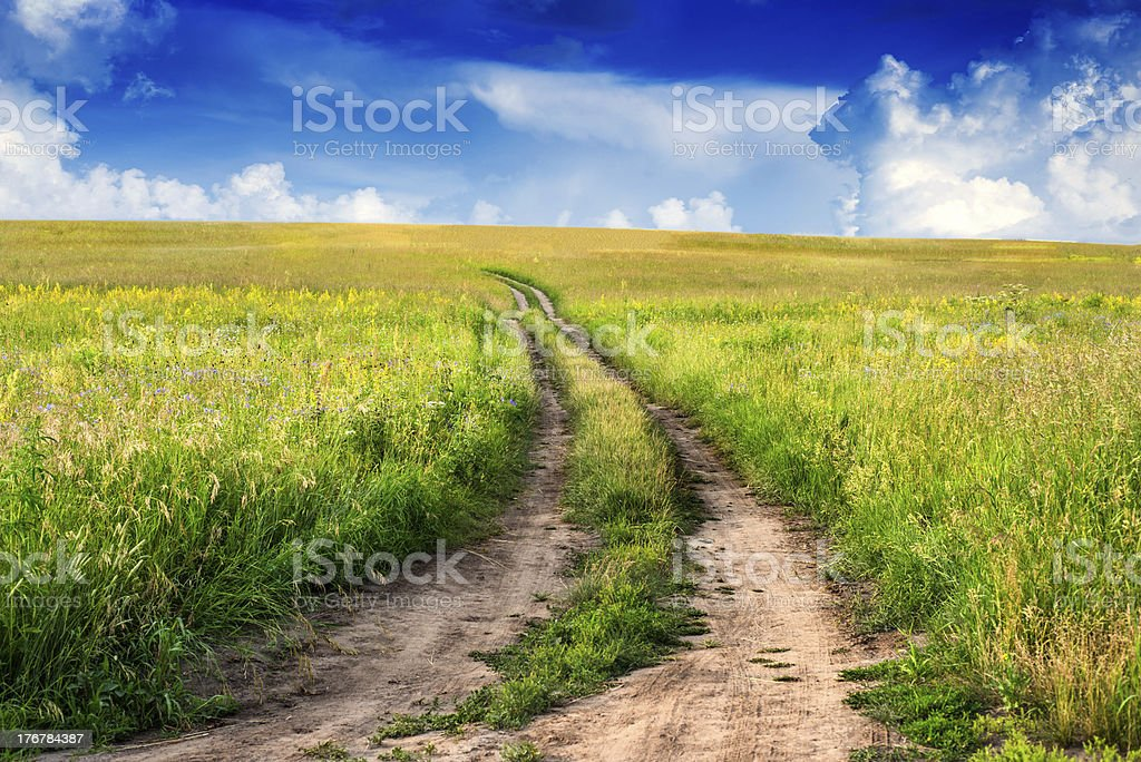 Peaceful rural landscape in wide field with country road royalty-free stock photo