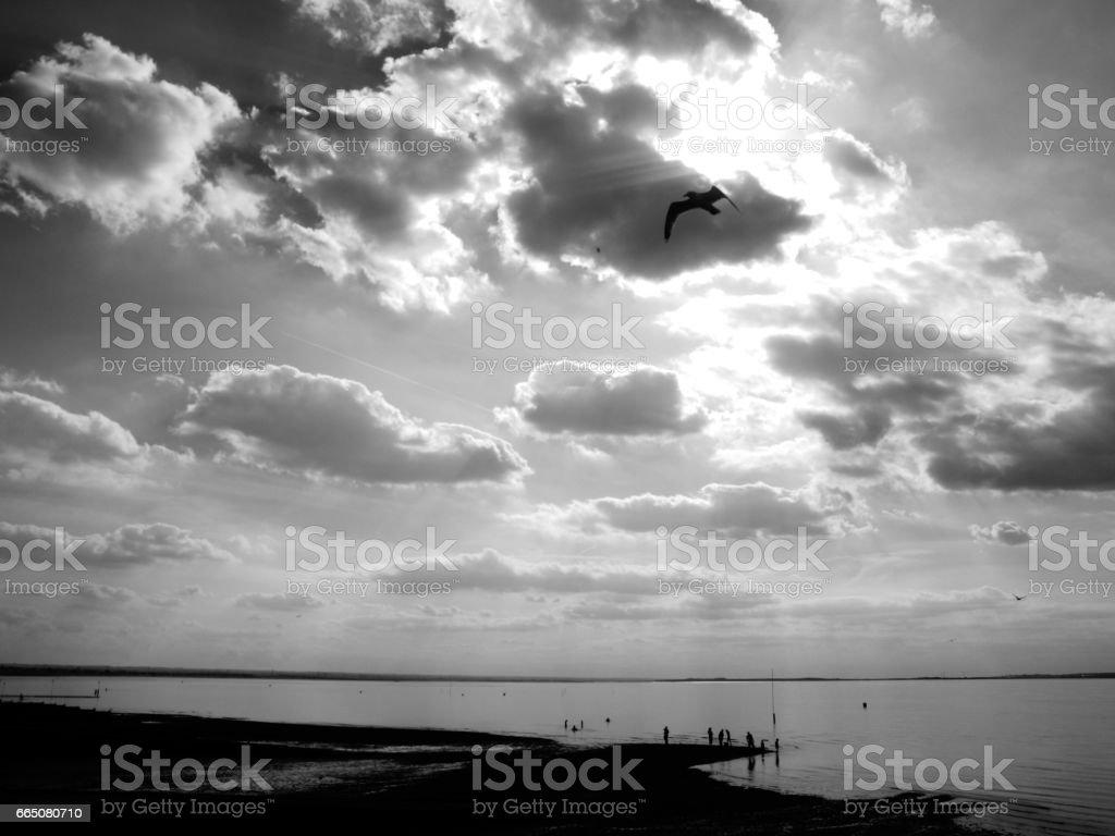 peaceful seaside stock photo