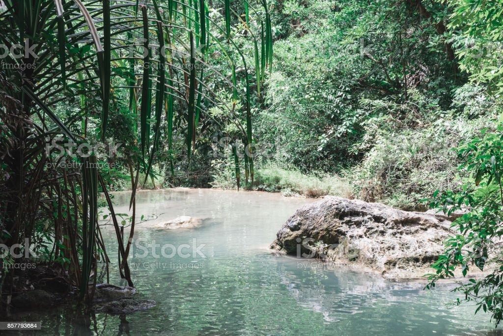 Peaceful Spot Along Erawan Falls Hiking Trail stock photo