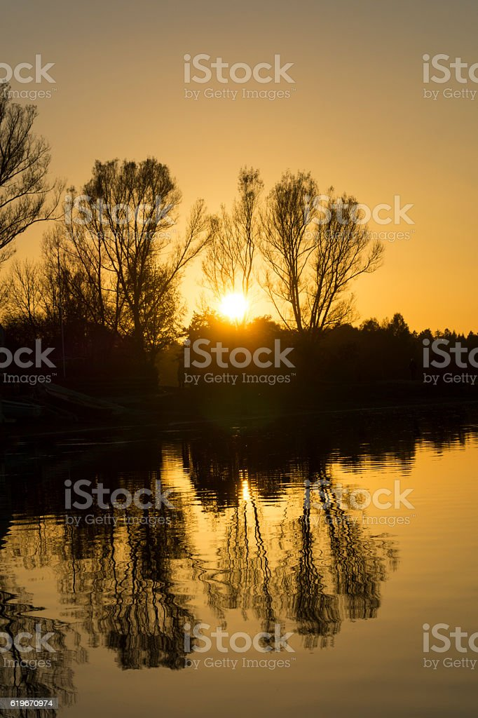 Peaceful Sunset at the Lake stock photo