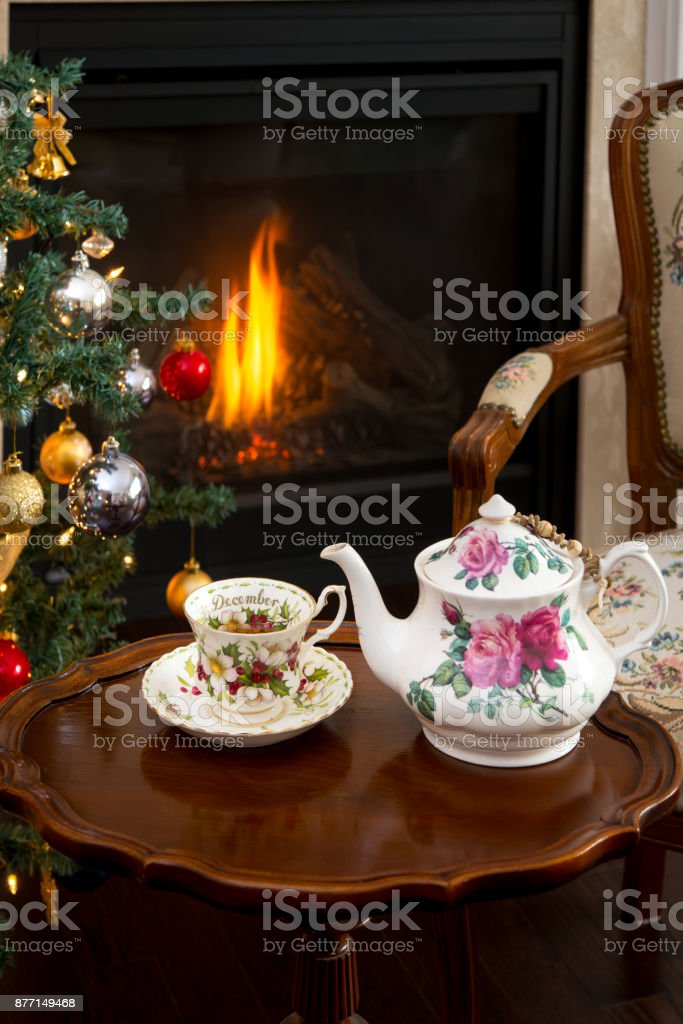 Antique furniture, antique tea cups and teapot.