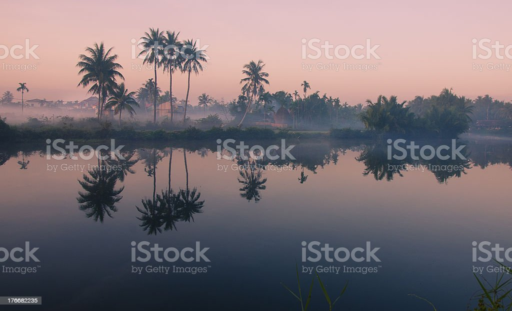 Peaceful village in sunrise royalty-free stock photo